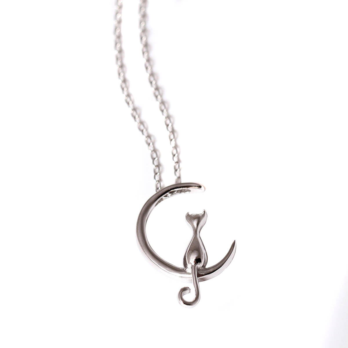 Cat on crescent moon necklace purrfect boutique cat on crescent moon necklace aloadofball Image collections
